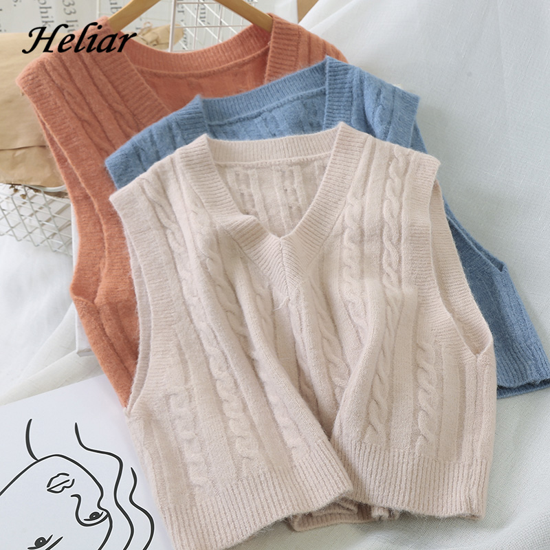 Heliar 2019 Fall Winter Women Knited Tank Vest Outerwear V-Neck Sweater Female Sleeveless Spiral Pattern Sweater For Women