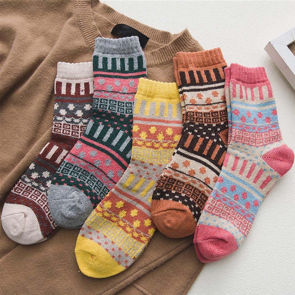 Женские теплые зимние носки, повседневные толстые шерстяные винтажные цветные вязаные мягкие подарочные носки с геометрическим рисунком, ...