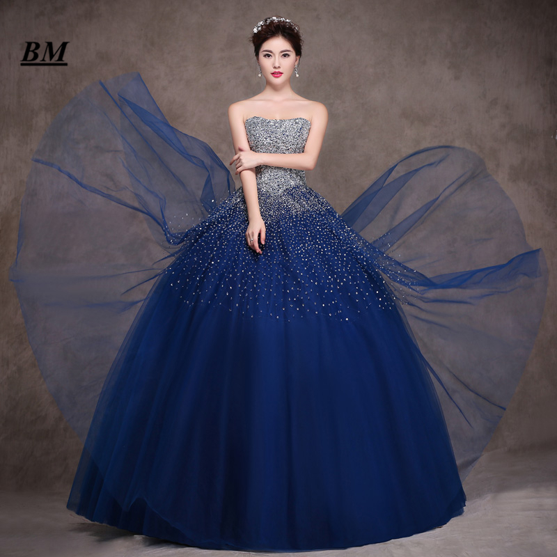 2019 New Royal Blue Tulle Quinceanera Dresses Ball Gown Beading Sweet 16 Dresses Formal Prom Party Gown Vestido De 15 Anos BM55