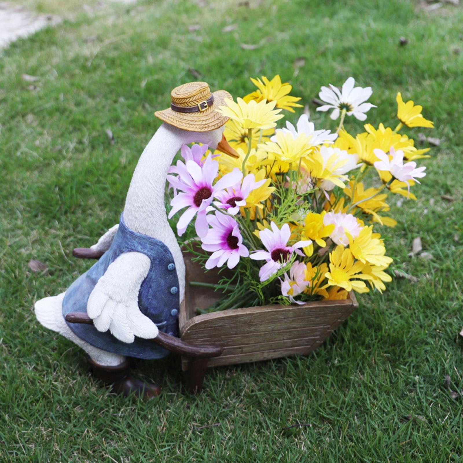 Duck Flower Planter Pot Fairy Garden Landscape Plants Flower Vase Container Resin Statue Flowerpot Living Room Decor