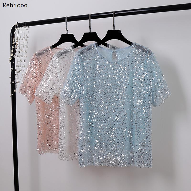 Summer Tops For Women  Fashion T Shirt With Sequins Loose T-shirt Short Sleeve Casual Fashion Shiny Tops