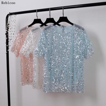summer tops for women  fashion t shirt with sequins Loose T-shirt Short Sleeve Casual Fashion shiny