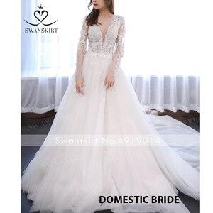 Image 5 - Vintage perles Appliques robe de mariée swanjupe F104 col en v à manches longues a ligne dentelle princesse robe de mariée Vestido de novia
