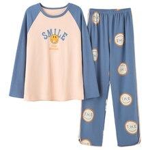 Ropa de dormir para mujer, conjuntos de manga larga, estilo Primavera, pijama para mujer, pijama de talla grande 5XL, pijama para niña