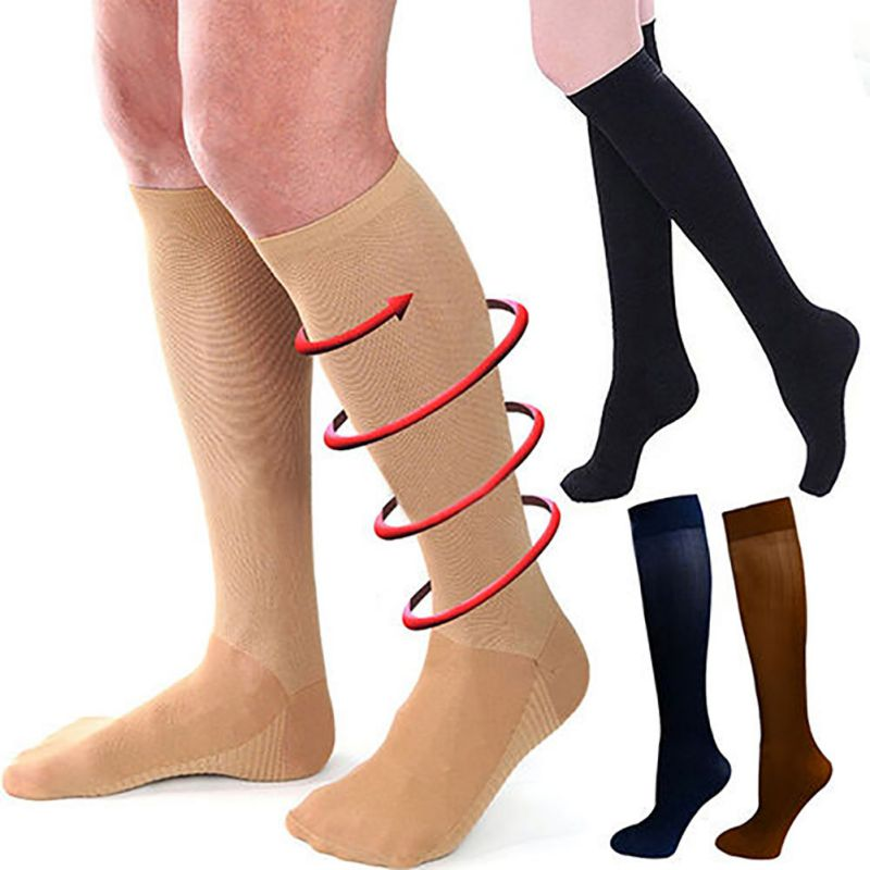 New Compression Stockings Unisex Outdoor Breathable Pressure Nylon Varicose Vein Stocking Leg Relief Pain Stockings For 29-31CM