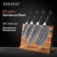 XINZUO 4 PCS Kitchen Knife Cooking Set vg10 5 7 7 8.5 inch Japan Damascus Steel Blade Utility Santoku Cleaver Chef Knives