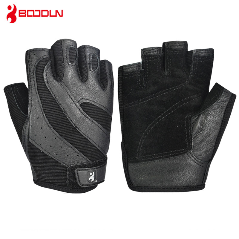 Weight Lifting Fitness Gym Gloves Genuine Leather Exercice Workout Body Building