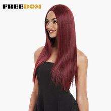 Parte média da liberdade fibra de alta temperatura preto vermelho 26 polegadas longa linha fina natural perucas sintéticas do laço da parte dianteira para as mulheres