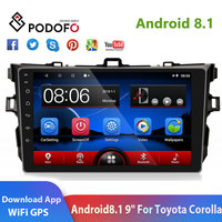 Podofo 2din Car Radio 9'' Android 8.1 2.5D Glass GPS Navi Car Multimedia Play WIFI Audio For 2006 2017 Toyota Corolla Car Stero