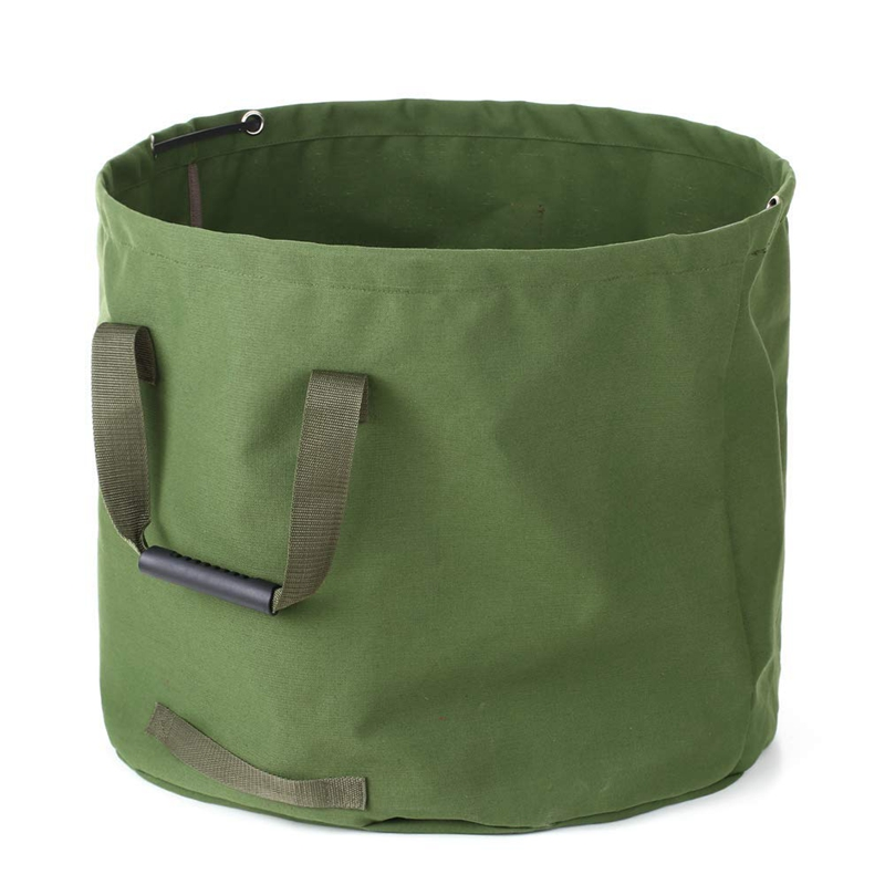 33 Gallon Garden Waste Bags Heavy Duty with Handles Collapsible Green Leaf Bag with Canvas Fabric (H18 In  D22 In)|Trash Bags| |  - title=