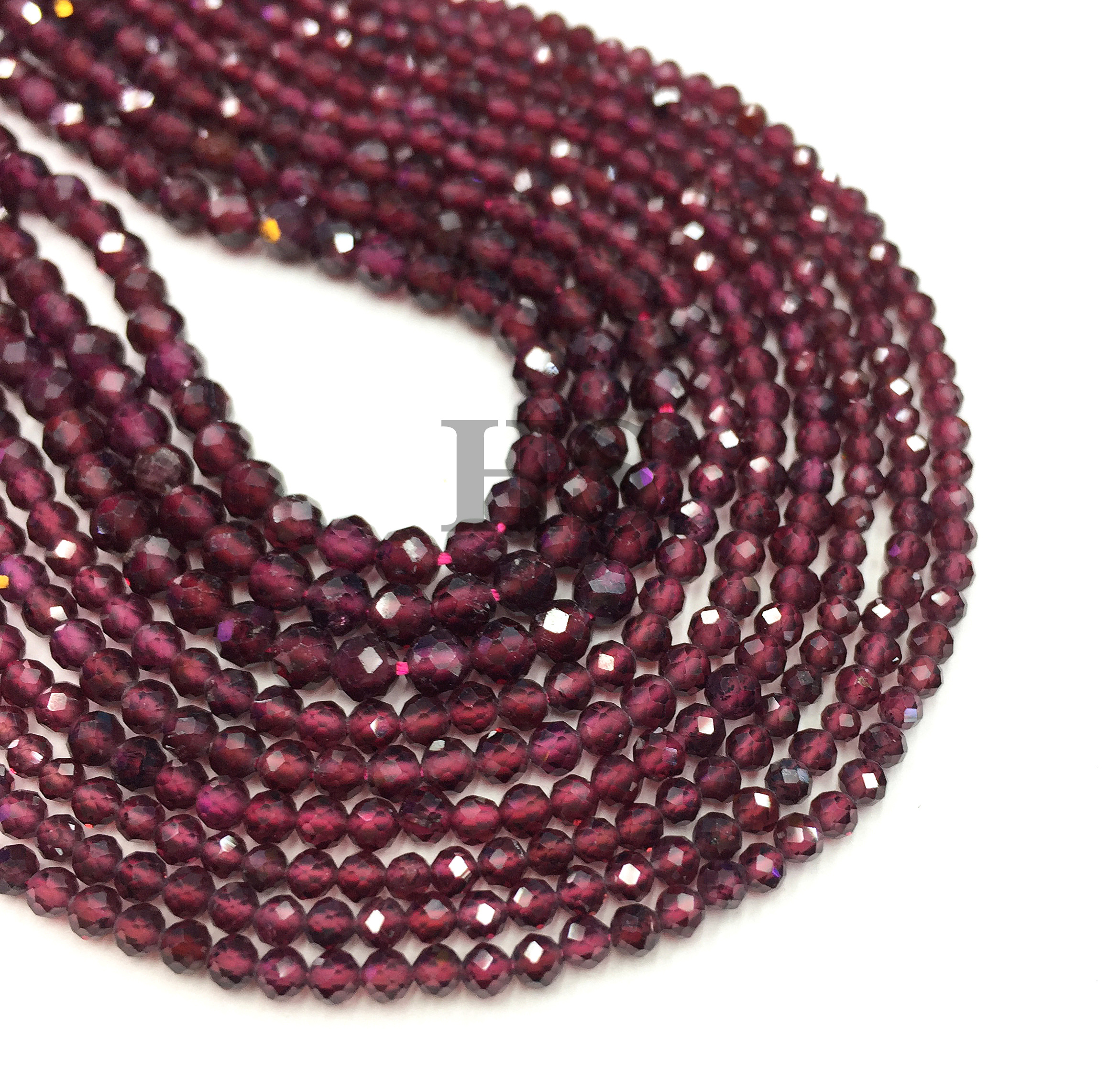 Natural Garnet Small Faceted Round Loose Bead Healing Energy Stone DIY Jewelry Making Bracelet Necklace Design 2mm 3mm 4mm