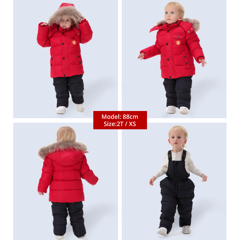 IYEAL  Russia Winter Children Clothing Set for Infant Boys Down Cotton Coat +Jumpsuit Windproof Ski Suit Kids Baby Clothes 2