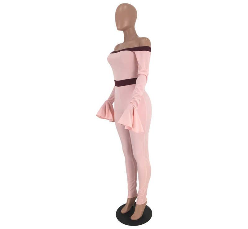 Adogirl/модное сексуальное боди на лямках с открытыми плечами и расклешенными рукавами; Облегающий комбинезон с вырезом лодочкой; повседневный комбинезон; клубный наряд