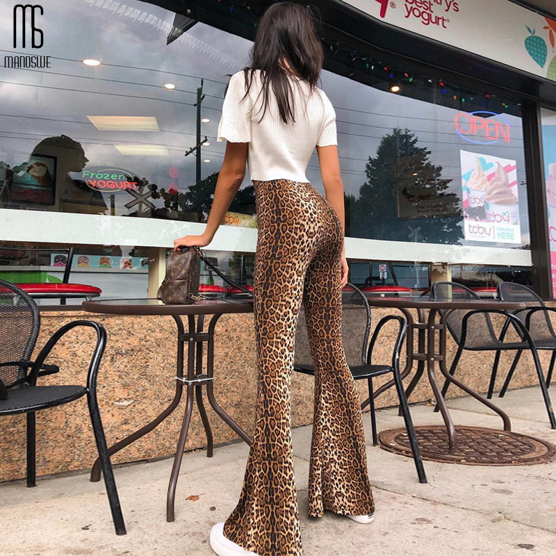 Manoswe Women Leopard Print Flare Leggings High Waist   Wide     Leg   2019 Sexy Fashion Plus Size XXL Casual   Pants   Autumn Full Length
