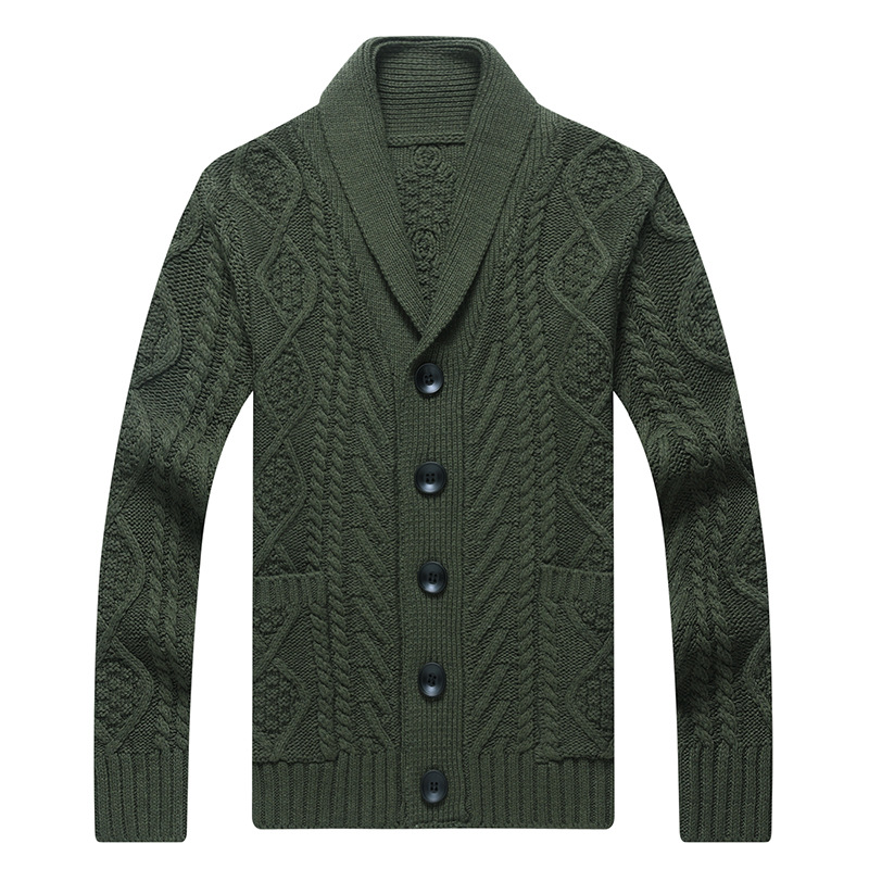 Winter Men's V Neck Knitted Sweater Coat Smart Casual Fashion Loose Twist Cardigan Warm Heavy Wool Male Sweaters for Autumn