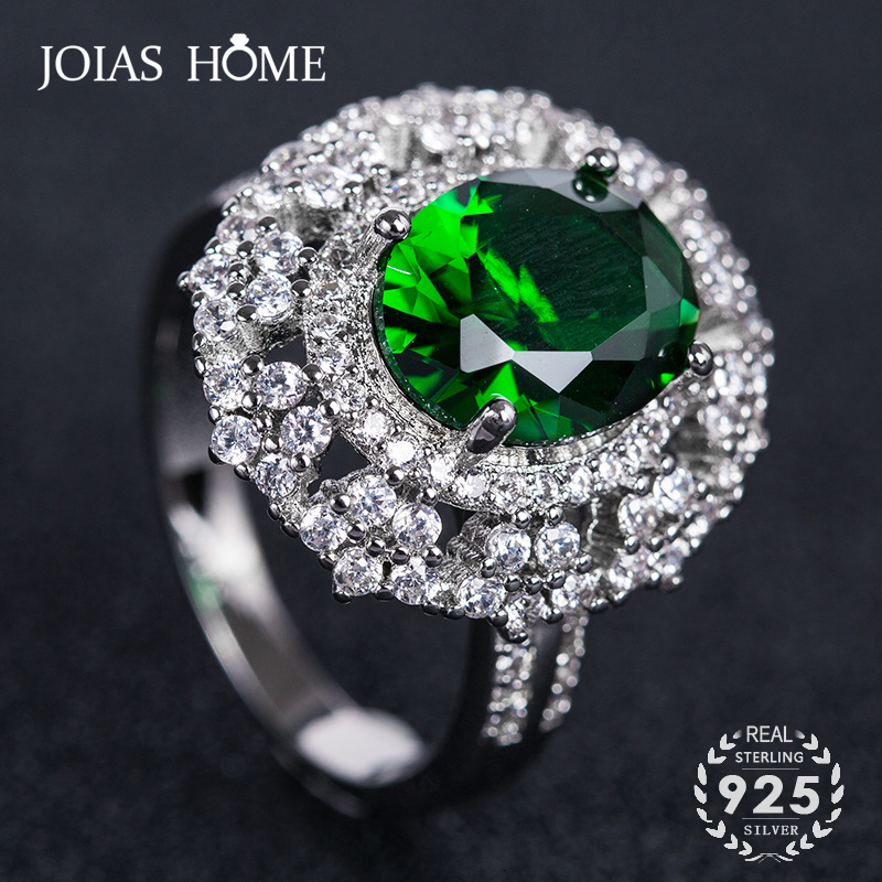 JoiasHome Vintage 925 Sterling Silver Rings For Women With Oval Shape Ruby Emerald Gemstone Finger Ring Wedding Party Gifts