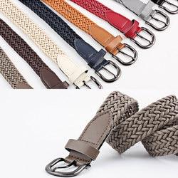 103cm Women Stretch Twist Woven Belt Wax Rope Braided Waistband Fashion Casual Female Belt For Jeans Dress Metal Buckle Belts