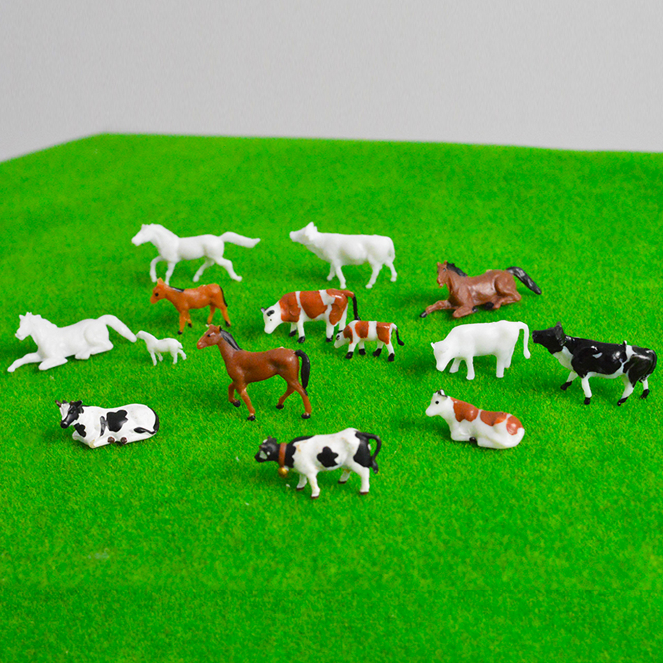 HO ABS Plastic Model Farming Animals Mixed Colored Painted Cows Horse And Sheep For Diorama Garden Farm Layout Toy Kits 20pcs