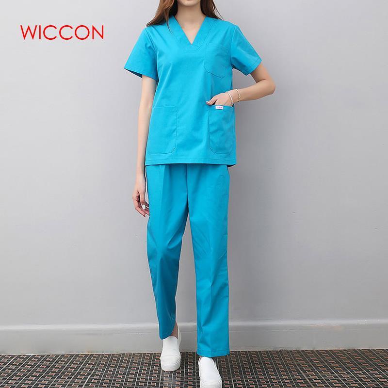 WICCON New Fashion Medical Uniforms Nursing Scrubs Clothes Short Sleeve Coat Summer Short Sleeve Work Wear Uniform Women Medical