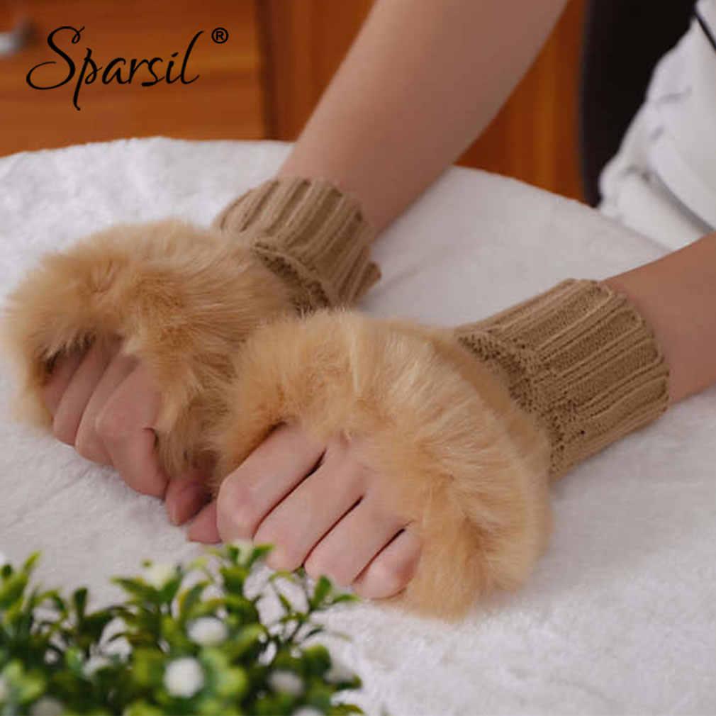 Sparsil mujeres guantes calientes 15 cm/20 cm Otoño Invierno Jacquard tejido sin dedos corto Mitten femenino lindo suave felpa elástico guante