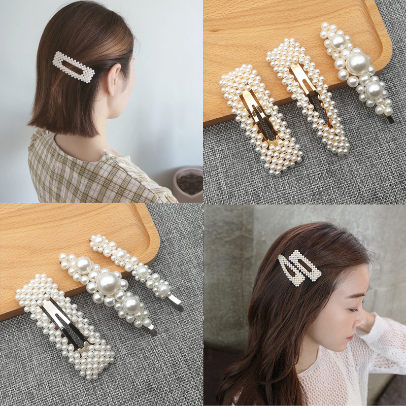 1PC Korean Fashion Pearl Hair Clips For Women Girls Elegant Snap Barrettes Hairpins Hairgrips Hair Accessories Styling Tools