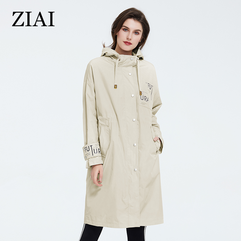 ZIAI 2020 Spring Trench Coat Women Jacket Long Light CamelWindproof Hooded Female Coat Ladies Outwear Top Brand Instock ZS-9413