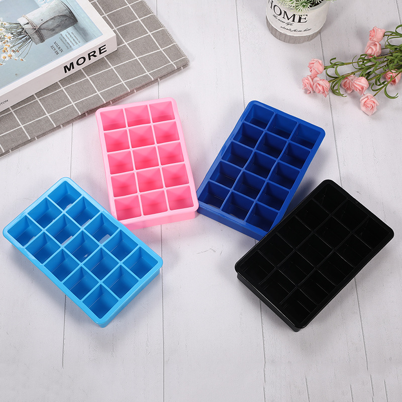 15 Grid Ice Cream Tools Silicone Molds Ice Tray Container Popsicle Holder <font><b>Beton</b></font> Candy Bar Eco-friendly Ice Ball Maker Cube Mould image