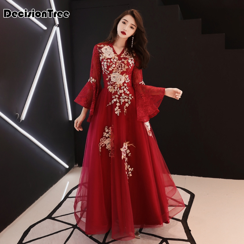 2020 Oriental Bride Wedding Evening Party Dress Chinese Traditional Embroidery Cheongsam Lace Floor Length Qipao Mesh Gown