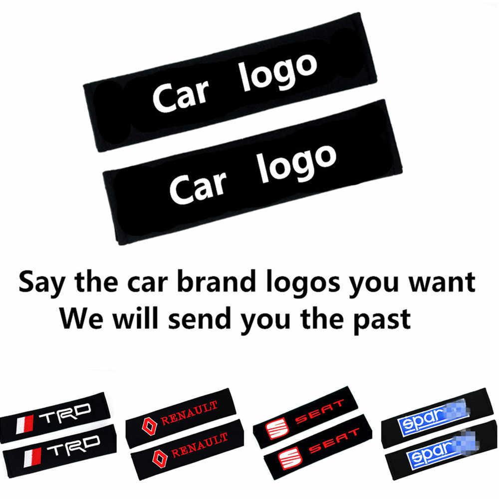 2Pcs Del Cotone Auto Logo Del Marchio di Spalla Cintura di Sicurezza per Seat Trd Opel Lada Smart Subaru Cintura di Sicurezza Della Copertura di Accessori per Lo Styling