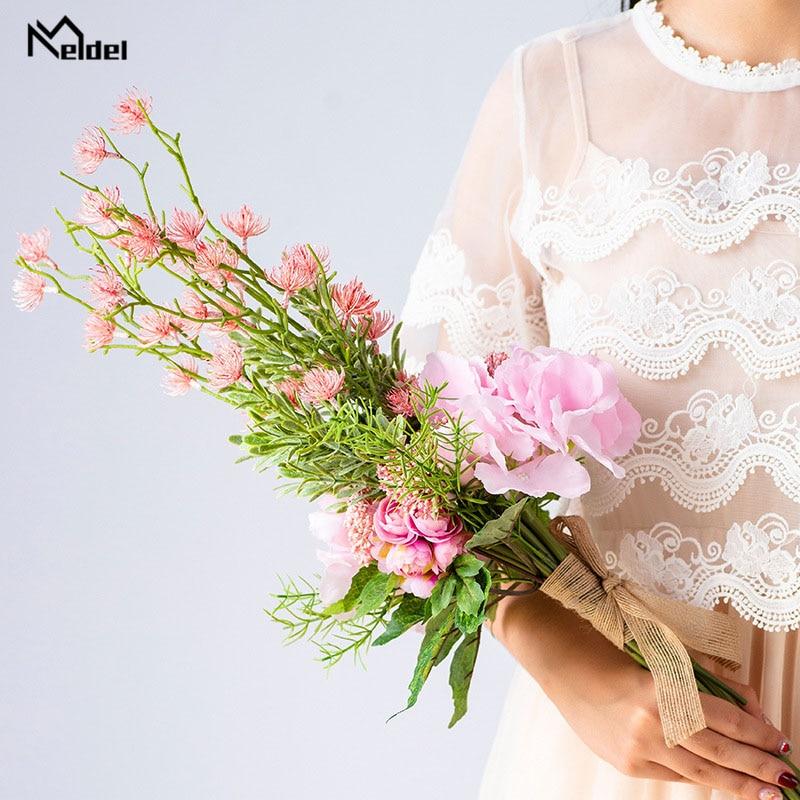 Meldel Bride Wedding Bouquet Drop Shipping Artificial Silk Rose Hydrangea Flower Pink Baby's Breath Photography Wedding Supplies