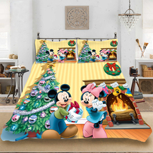 Christmas Mickey Fashion King-Full Size Soft Bedding set Bedclothes Include Duvet Cover Pillowcase Print Home Textile Bed Linens