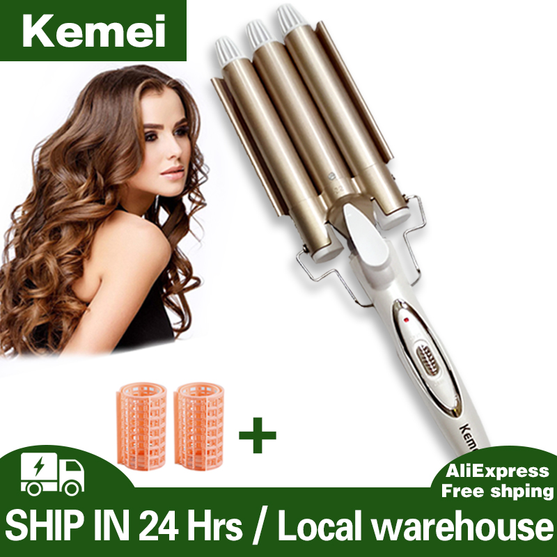 Kemei Curling hair curler Professional hair care & styling tools Wave Hair styler curling irons Hair crimper krultang iron 5(China)