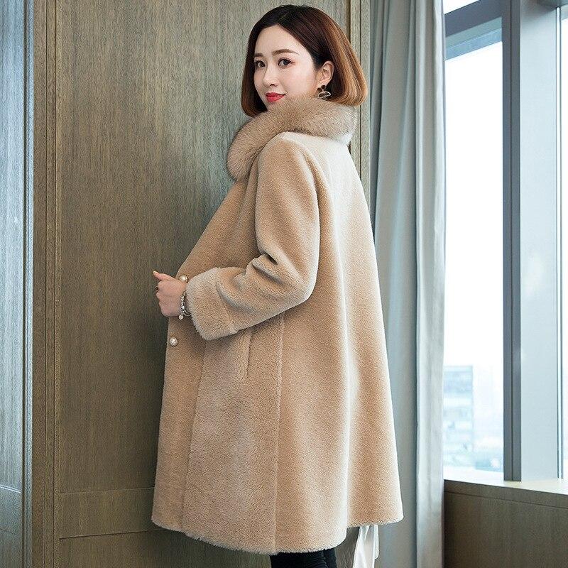 2020 Winter Real Fur Coat Women Long 100% Wool Jacket Fox Fur Collar Korean Clothes Fur Coats Manteau Femme 19527 KJ3707