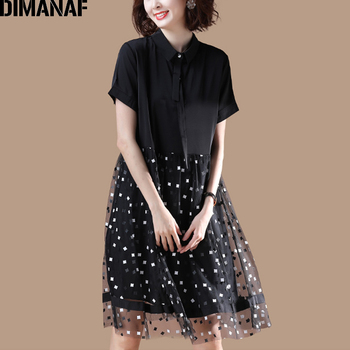 DIMANAF Plus Size Dress Women Clothing Summer Mesh Plaid Spliced Loose Female Office Lady Sundress Vestidos Black Shirt Dress 1