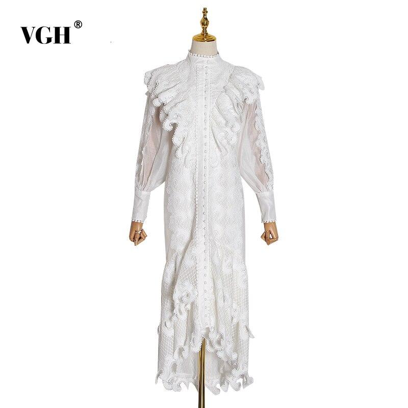 VGH Patchwork Ruffle Dress For Women Stand Collar Perspective Lantern Long Sleeve High Waist Dresses Female 2020 New