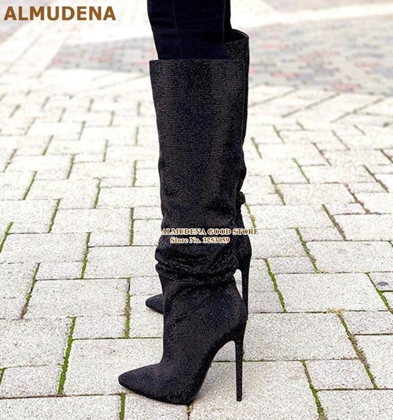 黑色水钻细高跟及膝靴 (1)