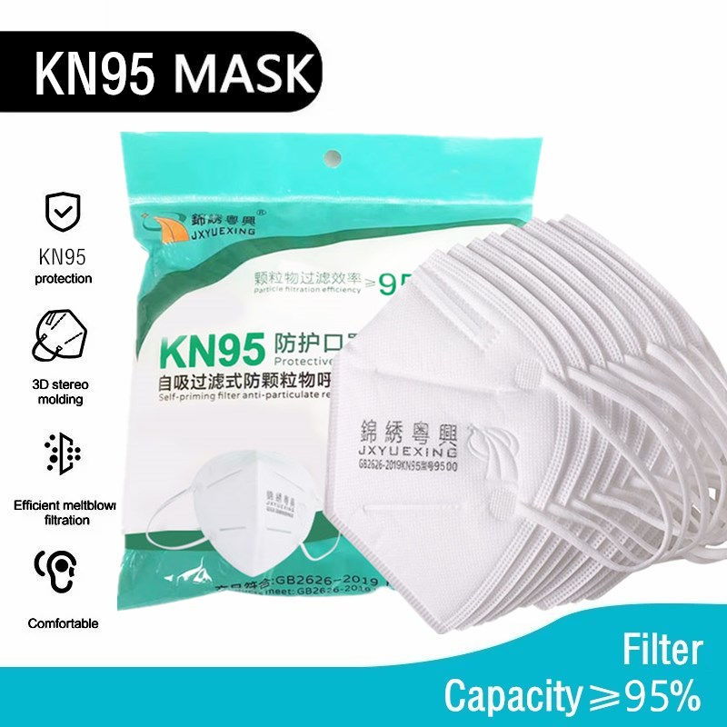 10-100PCS KN95 Facial Mask Respirator 3D Disposable White Masks Non-woven Melt-blown Filter 95% Industrial Factory Work Outdoors