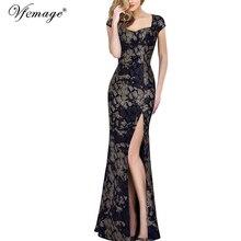 Vfemage נשים בציר מבריק נחש תחרה סקסי Keyhole חזרה מגזרת גבוהה סדק פורמליות ערב מסיבת חתונת מקסי ארוך שמלת 060