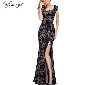 Image 1 - Vfemage Womens Vintage Shiny Snakeskin Lace Sexy Keyhole Back Cutout High Slit Formal Evening Wedding Party Maxi Long Dress 060