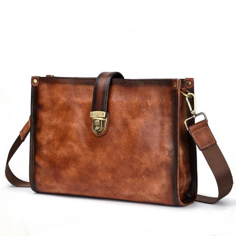 Nesitu Highend New Vintage Coffee Brown Genuine Leather Office Men's Briefcase For Ipad Shoulder Messenger Bag Portfolio M8091