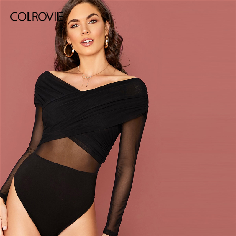 COLROVIE Black Mesh Overlay Cross Wrap Solid Bodysuit Women V Neck Skinny Bodysuit 2020 Spring High Stretch Sexy Bodysuits