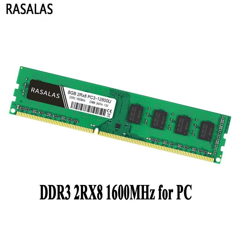 Оперативная память для настольного ПК, Rasalas, 8 ГБ, 2Rx8, PC3-12800U DDR3, 1600 МГц, 1,5 В, DDR3L, 1,35 в, 240Pin, 8 ГБ, без Ecc, DIMM