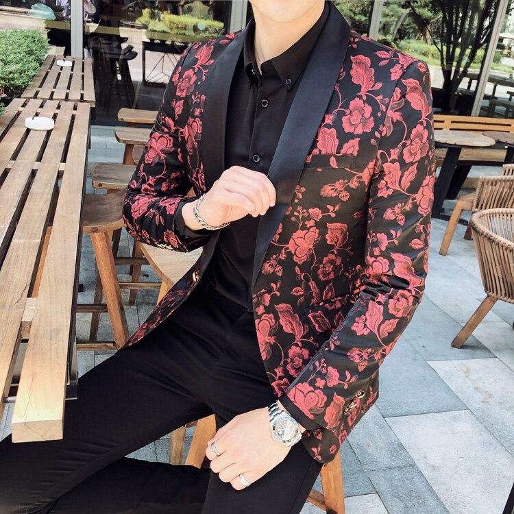 New Men Blazer Luxury Jacquard Club Party Prom Blazers Men Fashion Casual Single Breasted Slim Fit Male Blazer Plus Size 4XL 5XL