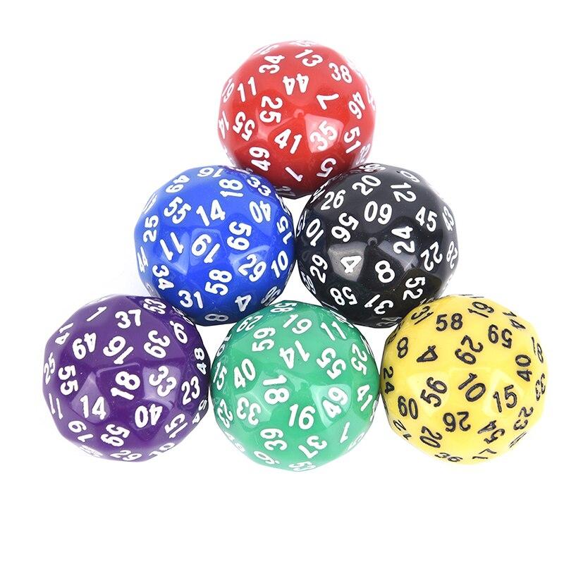 1Pcs 60 gesicht Würfel Für Spiel Polyhedral D60 Multi Sided Acryl Würfel geschenk für TRPG spiel liebhaber