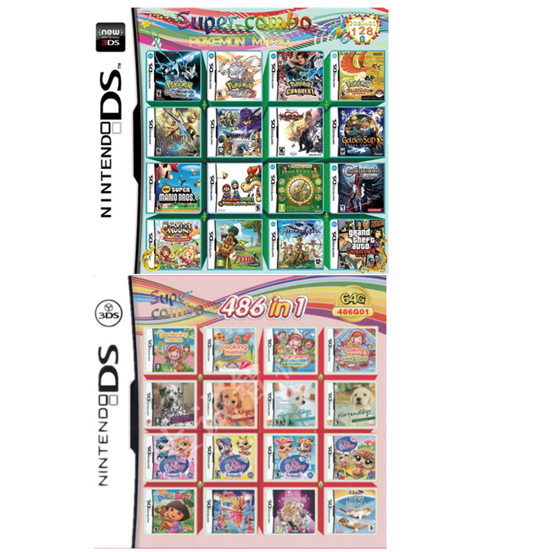 Картридж 486 в 1 для видеоигр Nintendo NDS NDSL NDSi 3DS 2DS, любимые игры для девочек 486 в 1, игровые карты, игрушки