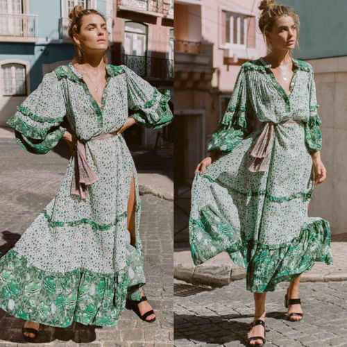 Nieuwe Fashion Zomer Womens Bloemen Boho Lange Jurk Avond Party V-hals Maxi Jurk Plus Size