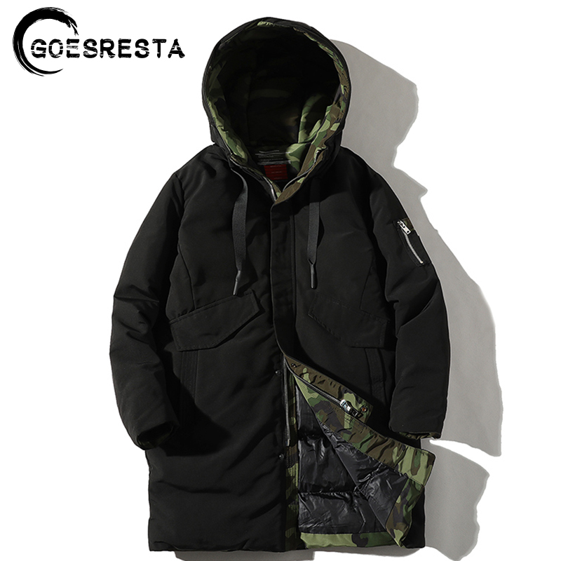 GOESRESTA 2020 Winter Thick Warm Jacket Men Liner Camouflage Fashion Long Parkas Casual Hooded Large Size Cotton Coat Men M-4XL