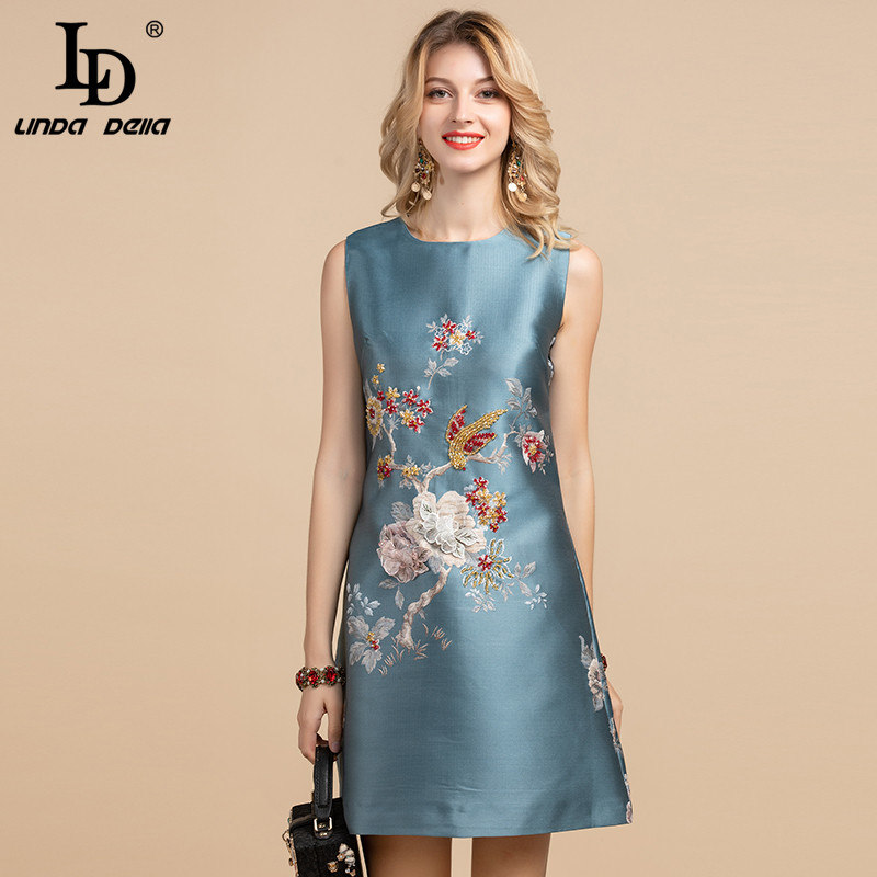 LD LINDA DELLA Elegant Designer Summer Dress Women's Sleeveless Luxury Floral Appliques Crystal Beading A Line Vintage Dress