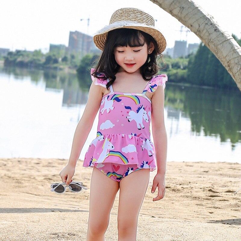 Girls Dress-Bathing Suit Triangular Unicorn Cute CHILDREN'S Swimwear Conservative Small Children GIRL'S Bubble Hot Spring