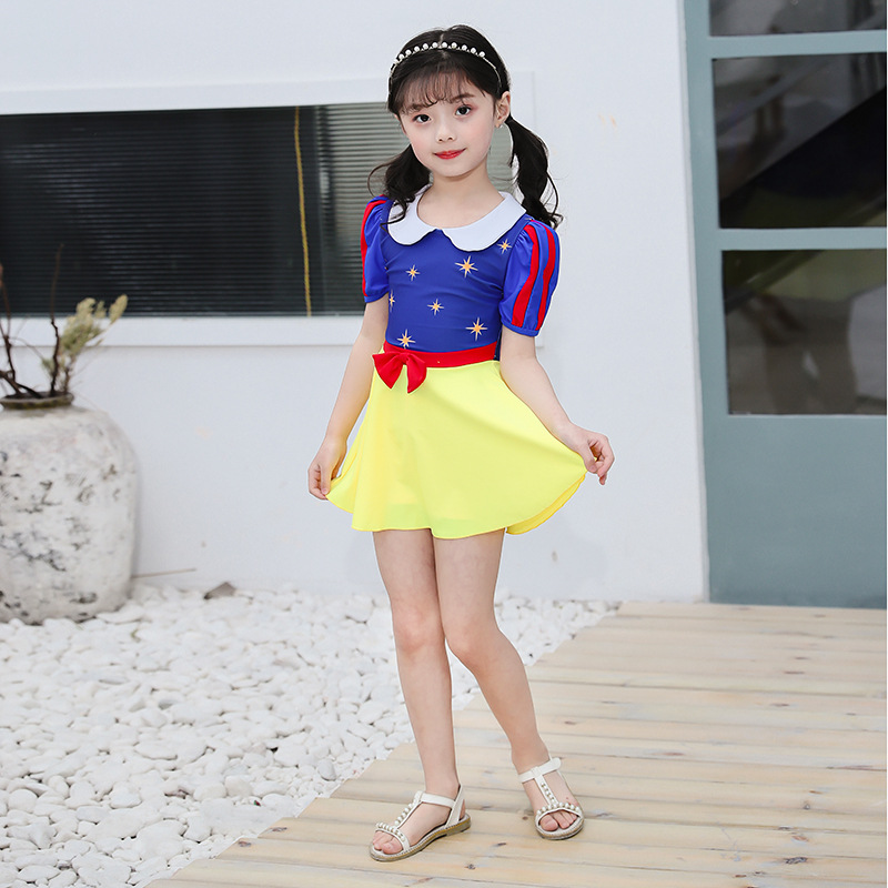 2019 New Style CHILDREN'S Swimsuit GIRL'S Baby Quick-Dry Cute One-piece Snow White Princess Dress-Bathing Suit